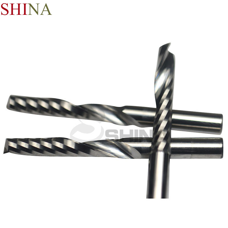 SHINA 5pcs 6mm Shank CNC Milling Cutter One Flute Tungsten Carbide Spiral End Mill Wood Cutting Machine Tools Router Bits 5pcs woodworking 3 flute shank 6mm cnc router bits mill spiral cutter tungsten carbide density board carving tools cel 22mm