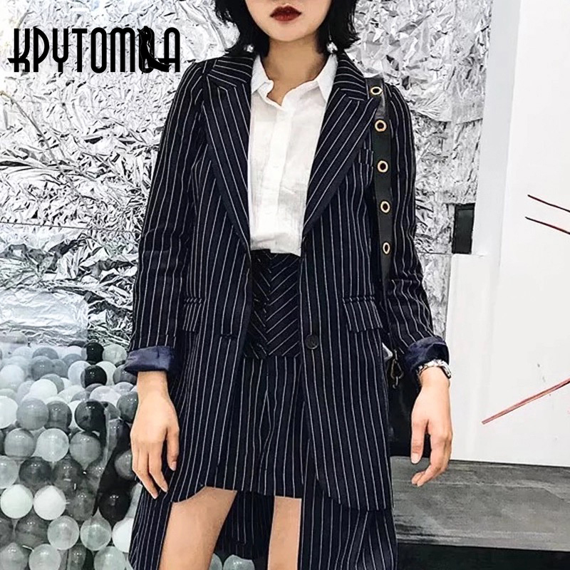Vintage Striped Single Breasted Blazer Women 2018 New Fashion Notched Long Sleeve Pockets Office Ladies Coat Casual Tops Mujer