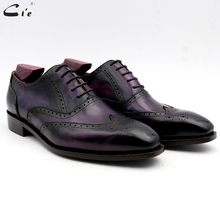 cie men dress shoes leather patina brown office shoe genuine calf outsole suits formal handmade No.6