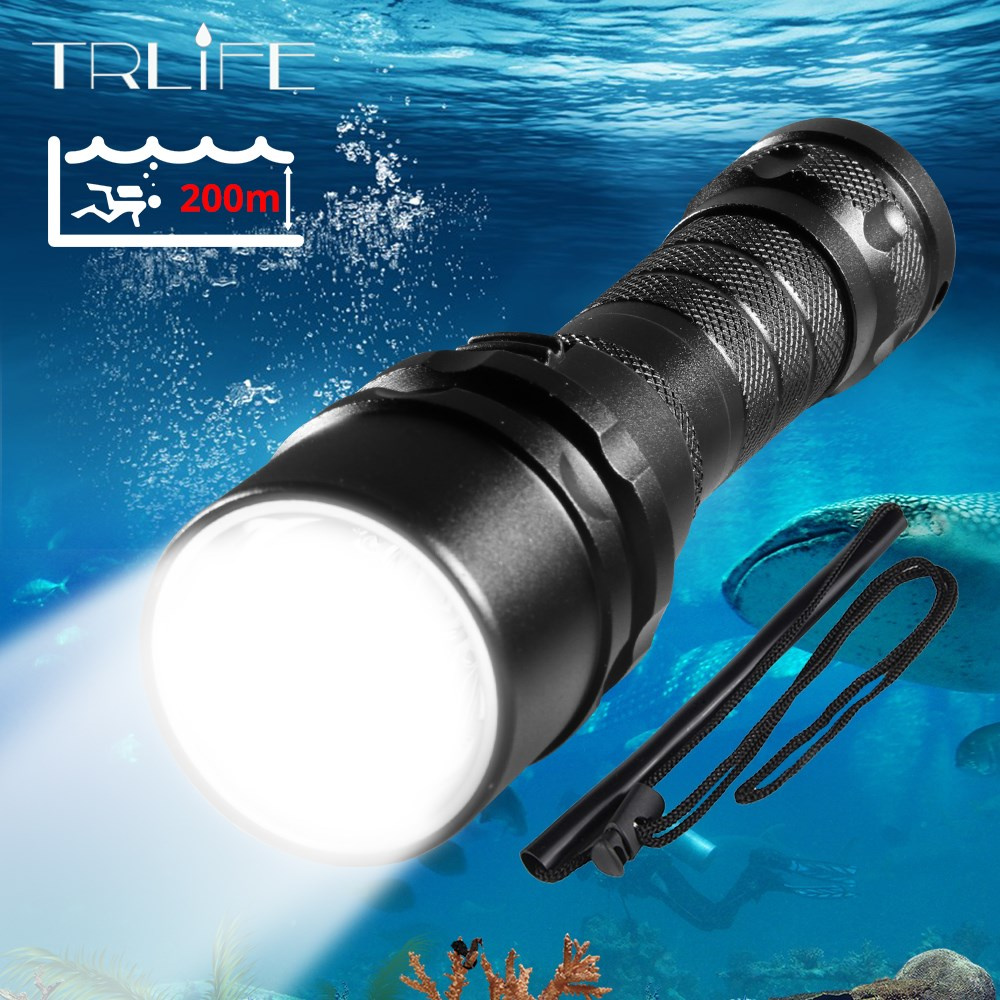 Professional Scuba Diving Light 200 Meter L2 Waterproof IPX8 Underwater LED Flashlight Diving Camping Lanterna Torch By 18650