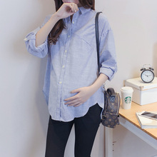 New Style Maternity Shirt Fashion Casual Striped Long Sleeve Loose Large Size Pregnant Women 2019 Spring