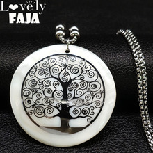 2019 Tree of life Shell Stainless Steel Necklaces Women Silver Color Long Necklaces & Pendants Jewelry bisuteria mujer N18422 цена в Москве и Питере