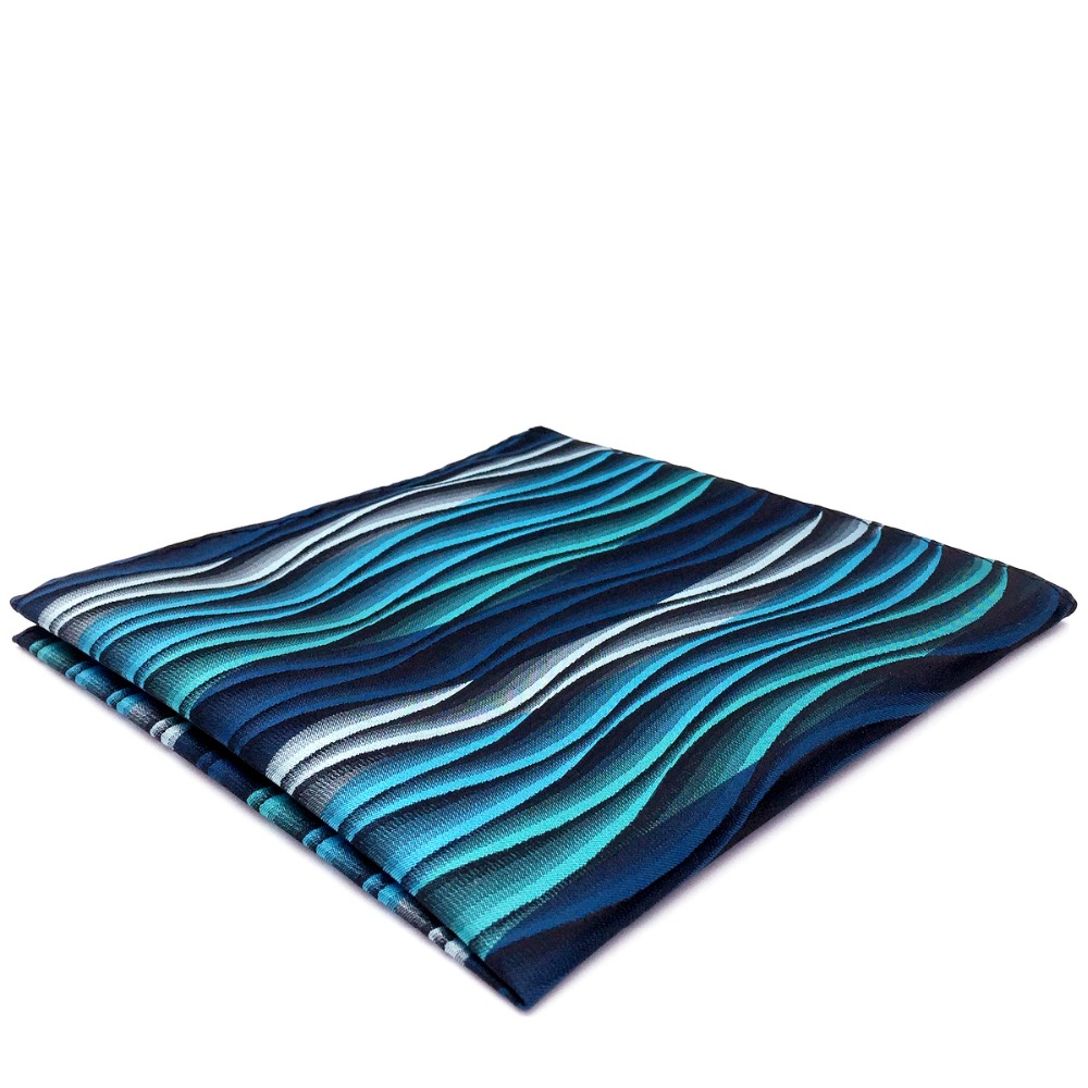 YH23 Turquoise Multicolor Ripple Abstract Classic Silk Handkerchief Pocket Square