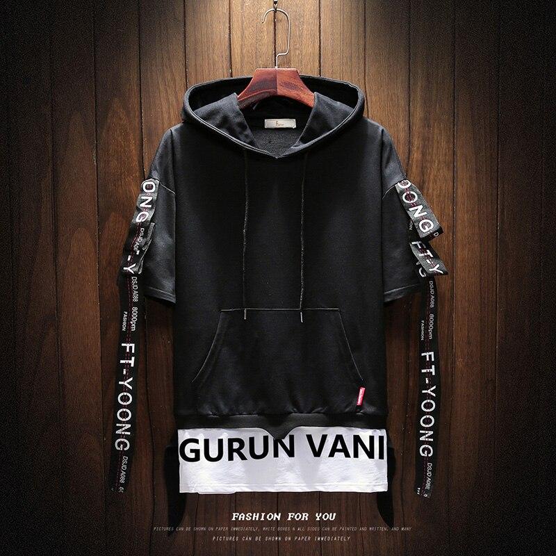 2019 Hoodies Men Summer Short Sleeve Hooded Sweatshirt Men Unisex Top Hip Hop Tracksuit Men's  Punk Style Casual Jacket S-5XL