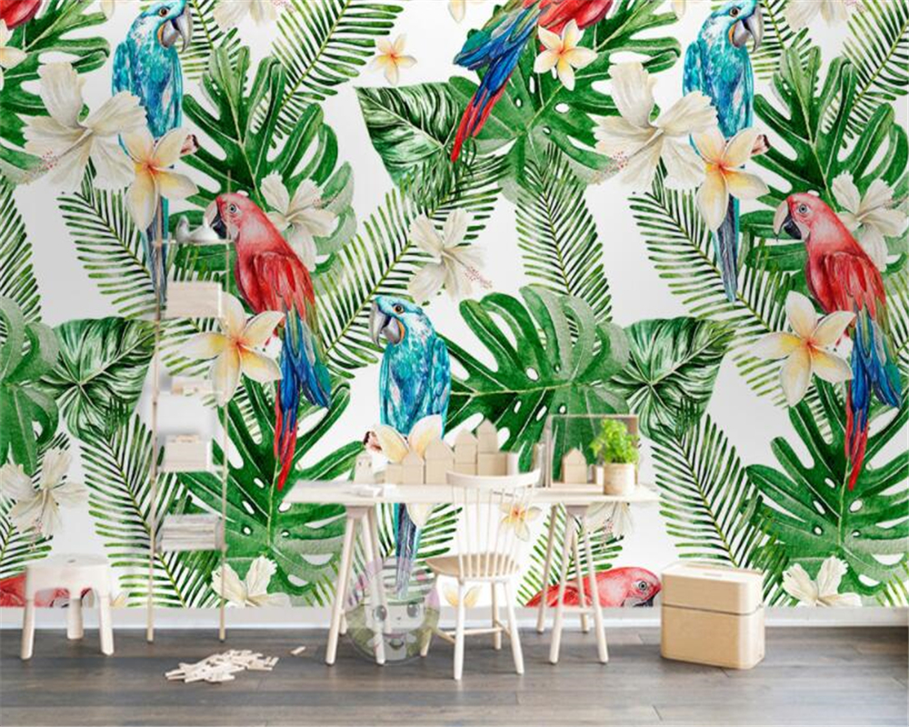 beibehang High quality 3D wallpaper European tropical plant leaves parrot background wall painting papel de parede 3d wallpaper Обои