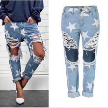1bec4bb8b57 2016 Hot Explosion Fashion Women Jeans Casual Ladies Hole Jeans Stars  Printing Straight Denim Ripped Jeans