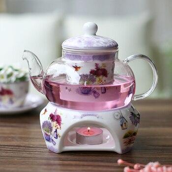 фарфоровый чайник | Чайник кипящий чайный сервиз стеклянный фарфоровый чайный сервиз со свечей нагревательная база Mrs послеобеденный чай-вещи подарок растите...
