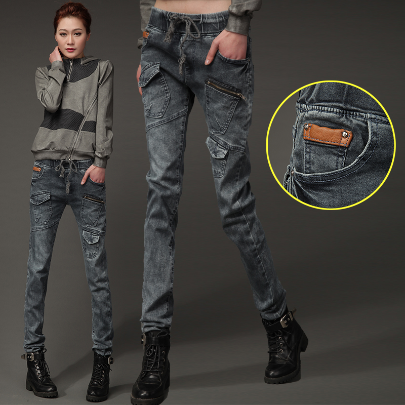 Loose Waist Harem Pants Jeans Female Spring Pants Loose Large Pockets Of Large Size Was Thin Slim Pants