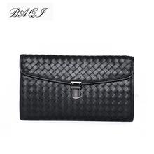 BAQI Brand Men Handbags Wallets Clutch Bag Genuine Leather Sheepskin Hand Knit High Quality 2019 Fashion Ipad Casual