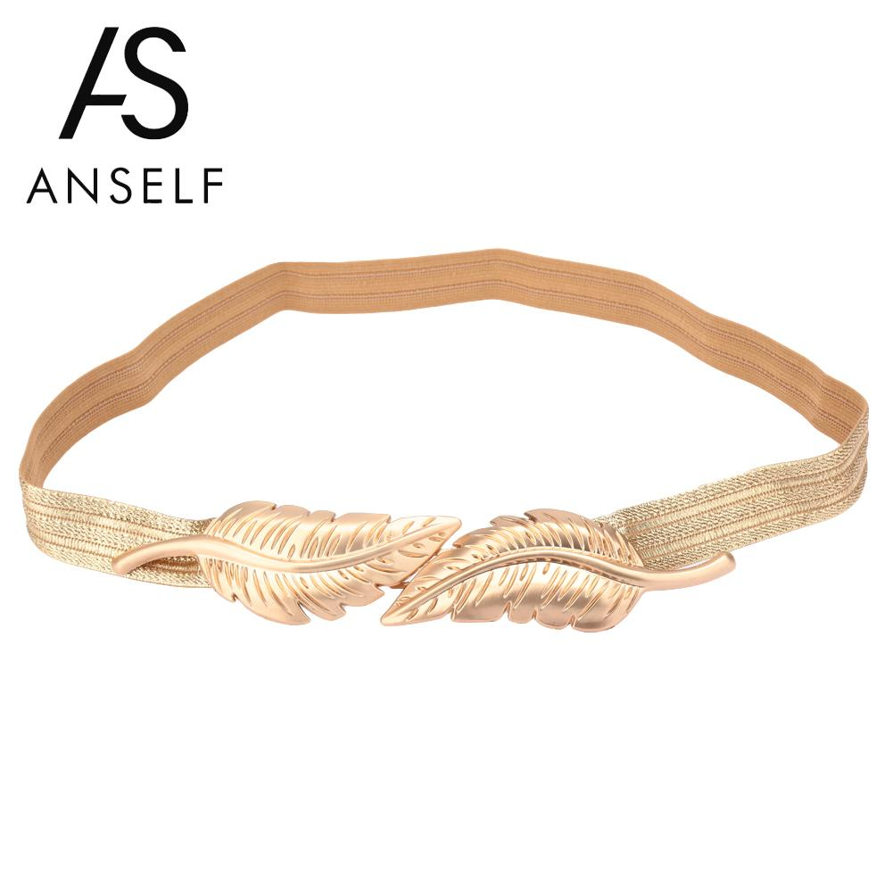 Anself Vintage   Belt   for Women Leaves Clasp Stretch Skinny Elastic   Belt   Metal Waist Strap Gold Ceinture Femme Woman Waist   Belts