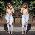 New 2016 Hot Sexy Women Ripped Jeans Big Holes Jeans Candy Color Skinny Pants Pencil Jeans Cotton Slim Long Trousers For Female