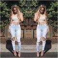 Novo 2016 Hot Sexy mulheres Jeans rasgado grandes buracos Jeans doces calças Skinny lápis calças de algodão fino calças femininas