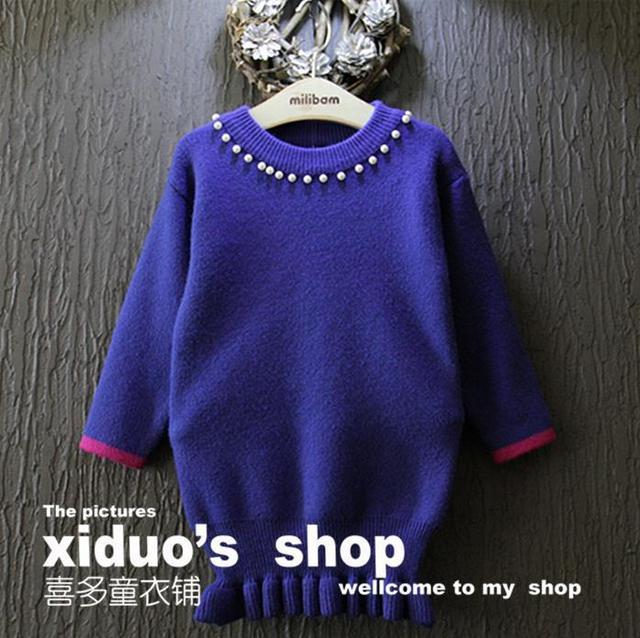 Nueva 2015 otoño invierno collar lindo de la perla niños suéter largo Pullover borde de la onda bebé niñas suéteres de punto del juego de vestido 2 ~ 7 age