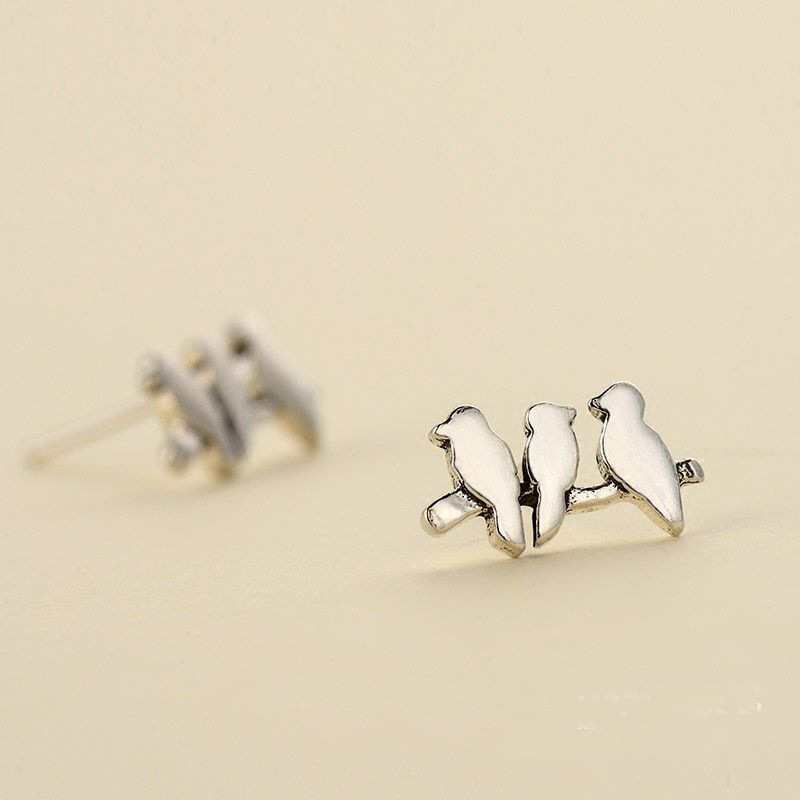 Pure 925 Sterling Silver Lovely Birds Earrings For Women Girls Christmas Gift Hot Fashion sterling-silver-jewelry