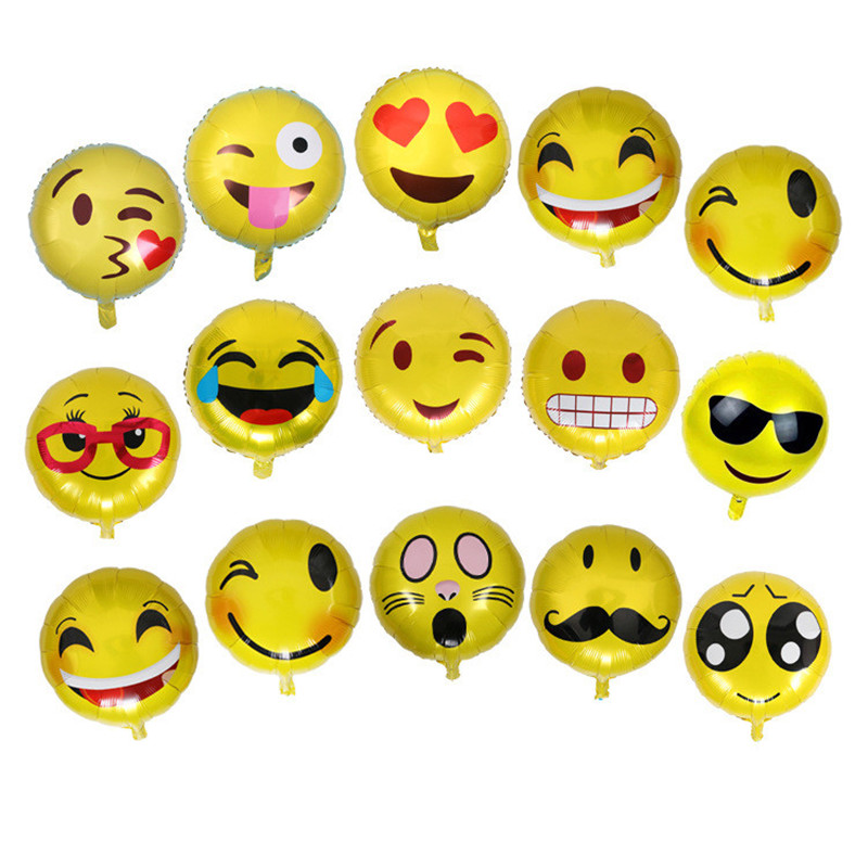 5pcs 18inch Cute Expression Foil Balloons Cartoon Face Expression Wedding Decoration Birthday Party Supplies Wholesale Balloon