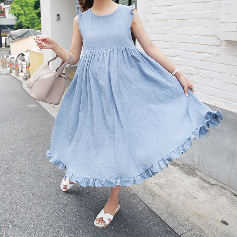 31ccc95e3f421 Linen Maternity Dress For Pregnant Women Clothes Sleeveless Loose Pregnancy  Dresses Clothing Gravida Wear Summer Fashion 2018-in Dresses from Mother &  Kids ...