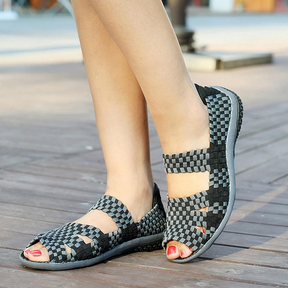 HTB1kD43ybuWBuNjSszgq6z8jVXaP EOFK Women Sandals Handmade Woven Flat Shoes Woman 2019 Summer Fashion Breathable Casual Slip-On Colorful Female Footwear