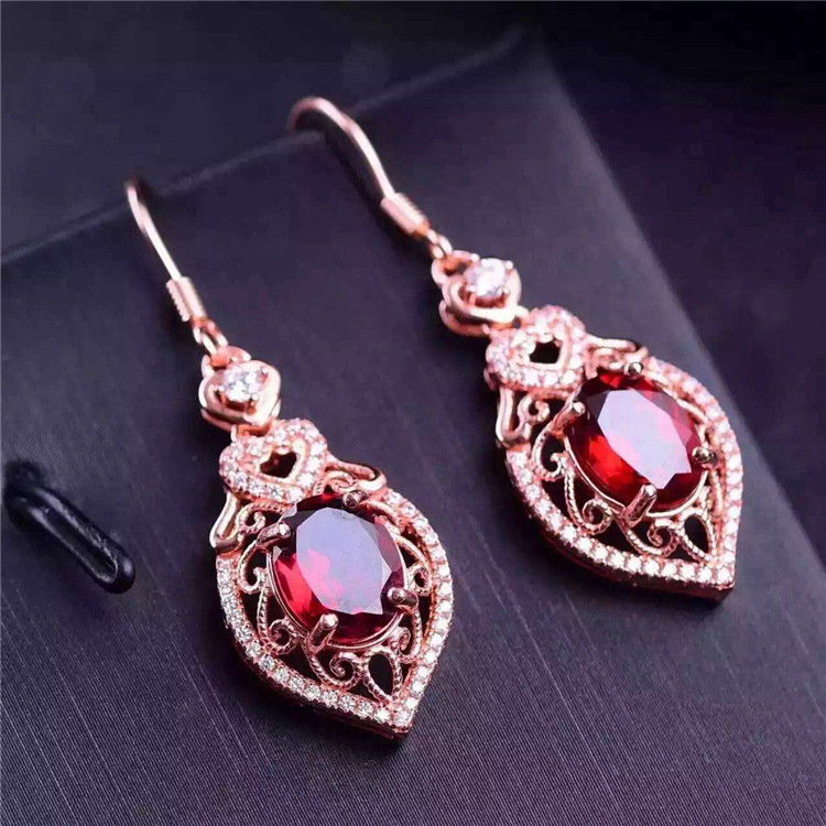 KJJEAXCMY boutique jewels 925 pure silver inlaid with natural garnet female pendant ring earrings 3 pieces of gold and silver co pair of stylish women s rhinestone inlaid openwork floral pendant earrings