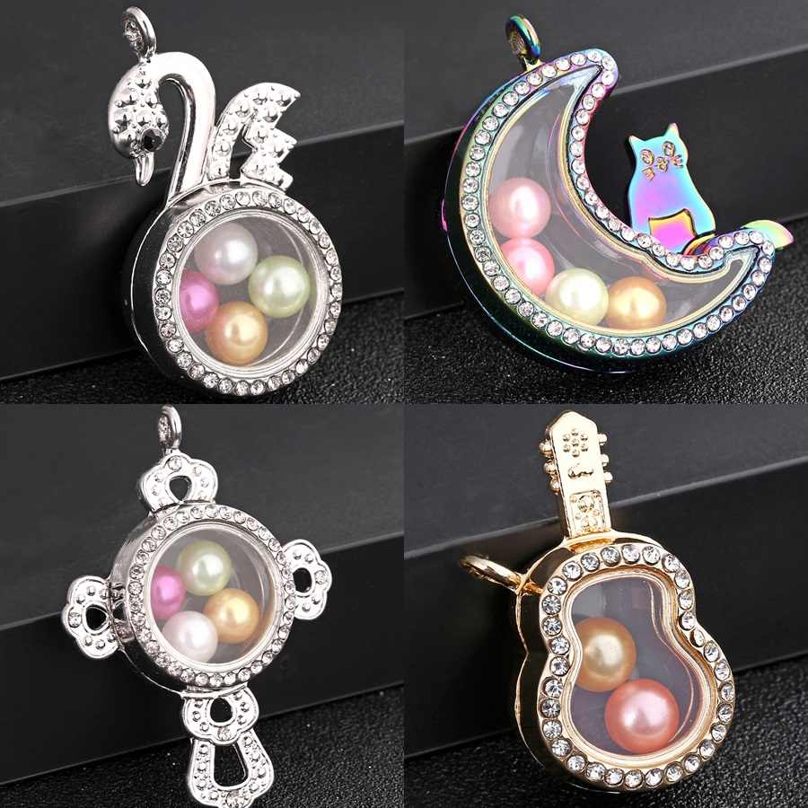 3 สีจี้ Living Photo Lockets เพิร์ล Charms Rhinestone Floating Lockets จี้