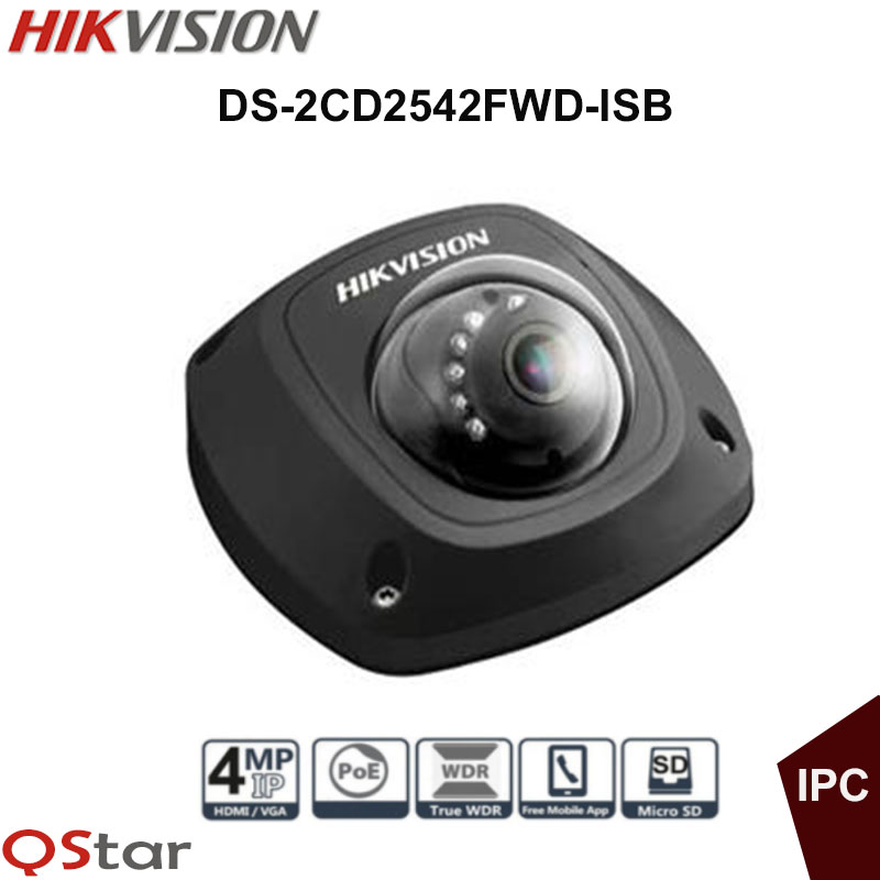 Hikvision Original English Security IP Camera Black model DS-2CD2542FWD-ISB 4MP Dome IP CCTV Camera IP67 POE built in microphone hikvision original english cctv camera ds 2cd2142fwd is 4mp fixed dome ip camera poe audio ip67 junction box ds 1280zj dm18