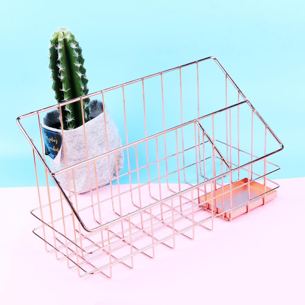 Panier de rangement métal or Rose tableau de bureau stylo de finition panier cuisine scandinave assaisonnement bouteille organisateur Rack