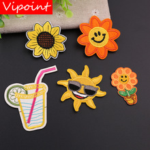 VIPOINT embroidery sun beverages patch sunflower patches badges applique for clothing YX-145