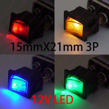 (4pcs/lot 4models)Car DIY 21*15mm Mini Rocker Switch 3PIN With Led 12V illuminated Toggle switch O – Power Push Button Switch