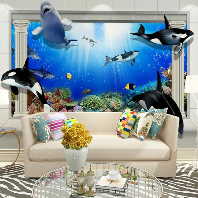 Home Office Decor Wall Papers 3 D Dolphin Photo Wallpaper Living Room Kids  Room TV Part 60