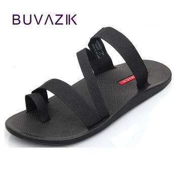 2018 letnie męskie sandały moda mężczyzna flip flop odkryty kapcie plażowe antypoślizgowe męskie obuwie sandalias duży rozmiar 44 tanie i dobre opinie BUVAZIK Mesh (air mesh) Podstawowe Cotton Fabric RUBBER Slip-on Niska (1 cm-3 cm) latex Pasuje prawda na wymiar weź swój normalny rozmiar