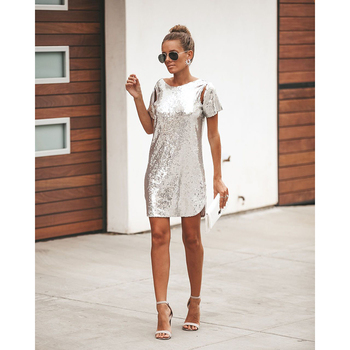 Autumn Silver Sequined Backless Sexy Dress Women Short Sleeve Mini Dress Short Christmas Party Club Dresses Vestidos 1