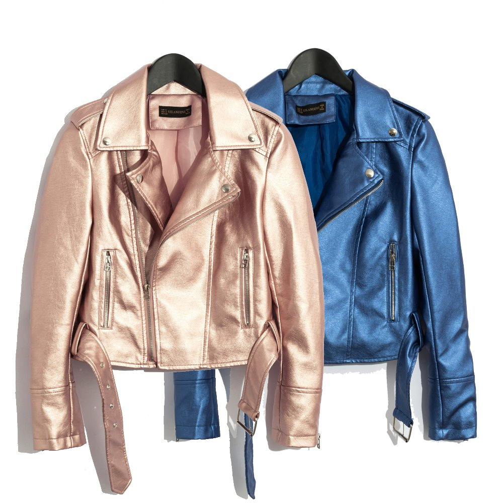 2019 women short coat Faux   leather   jackets soft high quality female casual clothes pink blue black V Rivet SML drop ship belt
