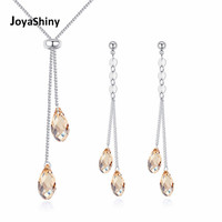 2018 Joyashiny Luxury Women Wedding Jewelry Sets Crystal From Swarovski White Gold Color Necklace Long Water Drop Dangle Earring