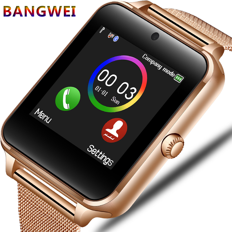 BANGWEI2018 New Smart Watch Men Fashion Stainless Steel Strap Support SIM Card TF Call LED Large Screen Camera Sport Watch + Box 2