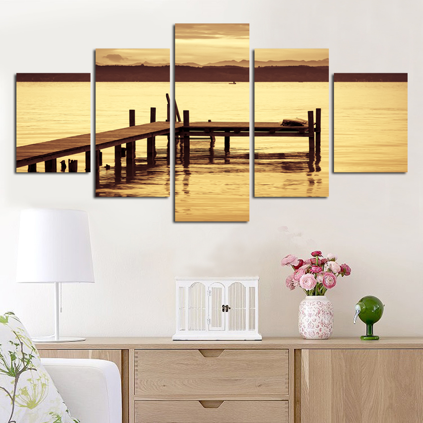Selling 5Pcs HD With Exotic charming scenery Canvas Print Painting ...