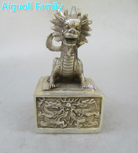 Metal Crafts Christmas Home decorations+Chinese Old Handwork Tibet Silver Carved Big Dragon Seal Statue/Stamp Sculpture