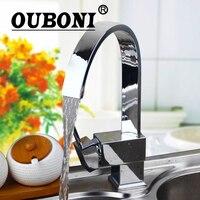 OUBONI 360 Swivel Kitchen Sink Faucet Stream Spout Polish Chrome Brass Finish Deck Mounted Tap Hot