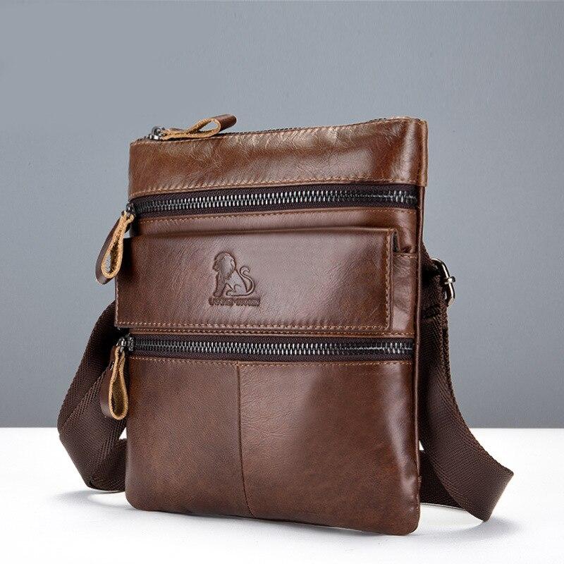 Borse Crossbody Casual Uomini All'ingrosso Bag Genuino Vintage Mens Sacchetto Uomo Brown Del Messenger Cuoio Tracolla Di Business Per Maschio Gli A rwTqBr