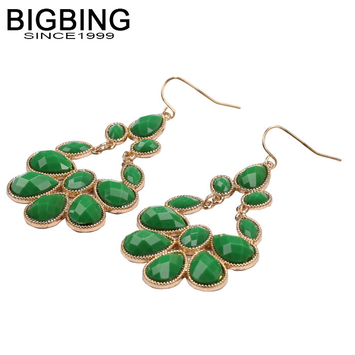 BIGBING  jewelry fashion green crystal hollow flower fashion earrings  Fashion jewelry earring good quality free shipping  Q076
