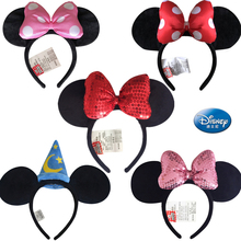 цены Disney Plush Mickey Mouse Minnie Mickey Disneyland Edition Headdress Hair Bands Princess Head Hoop Girls Toys for children Gift
