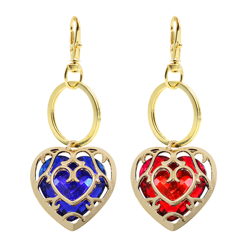 Trendy Acrylic Heart Keychain Anime Game The Zelda Legend Red Blue Crystal Rhinestone Metal Key Chain Jewelry Gift Drop Shipping