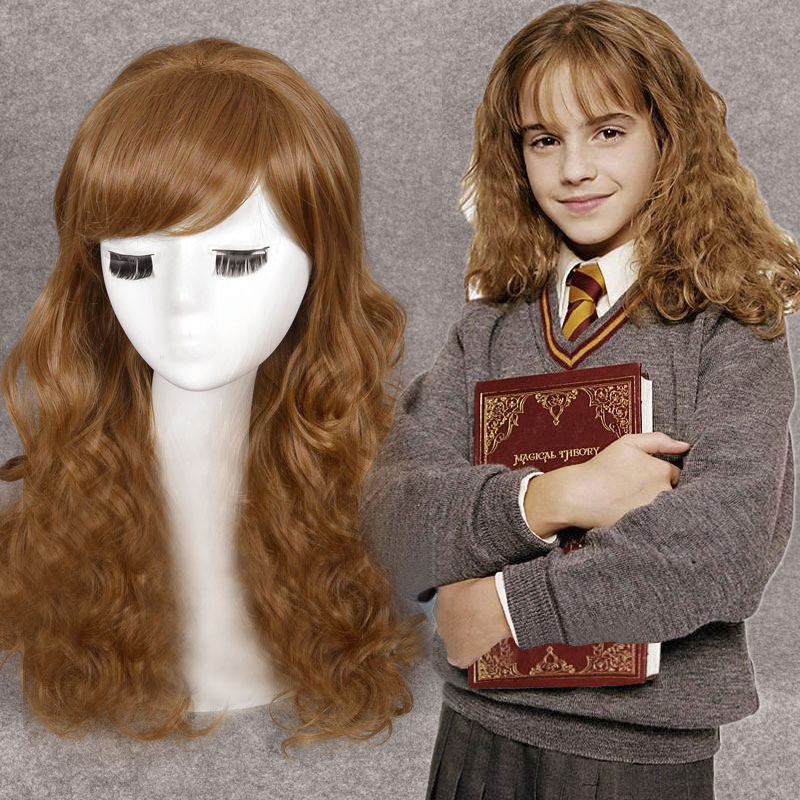 Movie Hermione Jean Granger Cosplay Wig Brown Wavy Role Play Hair Wigs For Costumes