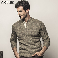 AK CLUB Brand Sweater Henley Collar The Expendables 3 Contrast Color Closing Fly Sweater Men Casual