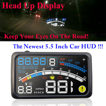 4E 5.5″ Head Up Display HUD OBDII EOBD Windshield Projector Self-adaptive Car Fuel Parameter Display Speeding Warning w/ bracket