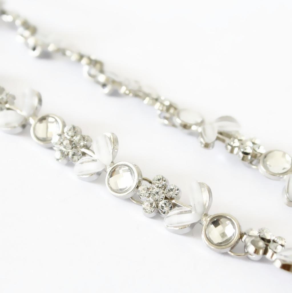 a3c242db Señora caliente de plata del cristal plateado de la flor del pelo venda  elástico