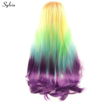 Sylvia Colorful Wig Orange Yellow Green Blue Purple Rainbow Long Synthetic Lace Front Wig Women Party Cosplay 5 Tone Wavy Hair