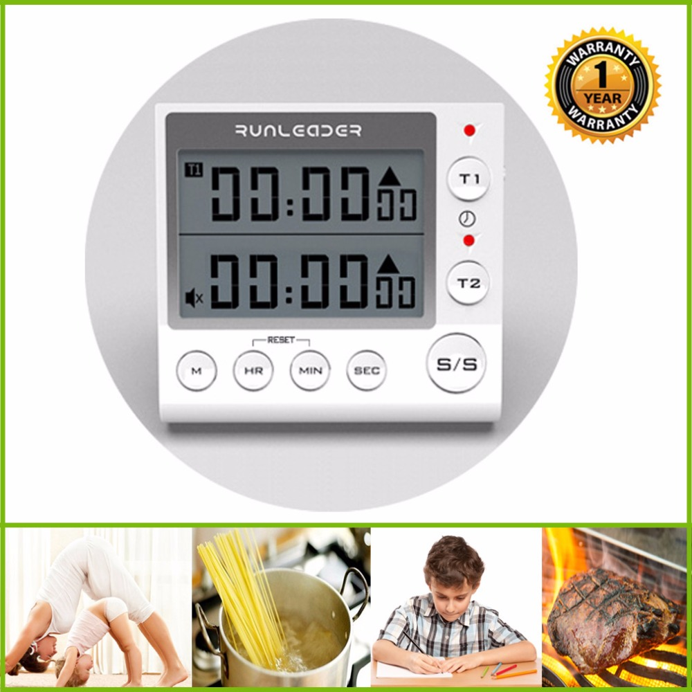 Digital Kitchen Timer, Cooking Timers ,large LED display, loud alarm, memory stopwatch, magnetic back, white / black