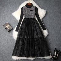 Brand Runway Designer 2018 Autumn Winter Dress 2Piece Set Women Long Sleeve Top+Tweed Woolen Tank Dress Vintage Sexy Tulle Dress