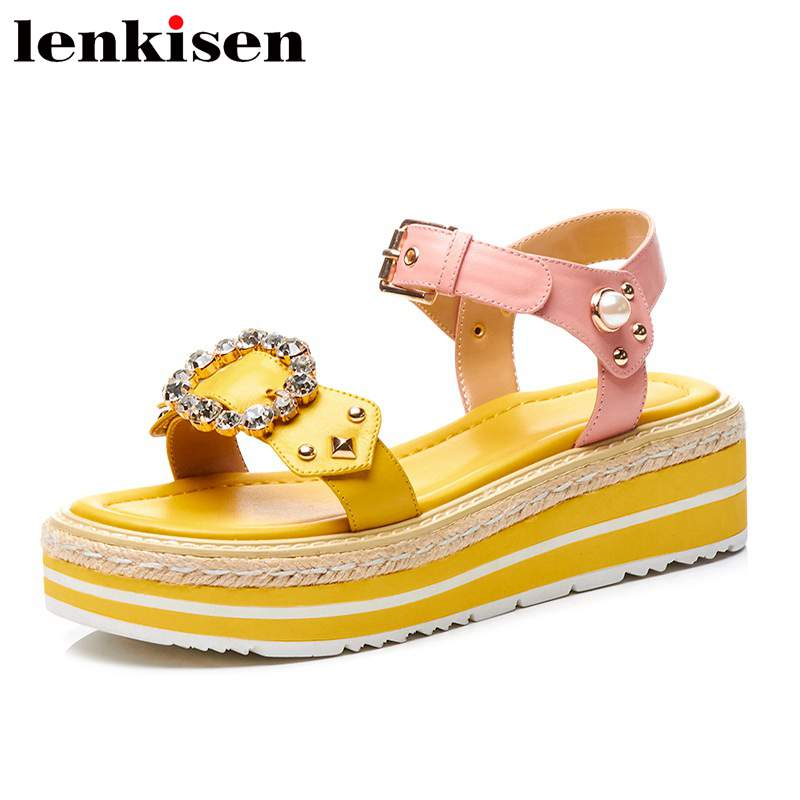 Lenkisen rivet crystals cow leather mixed colors med straw decoration bottom peep toe buckle strap shopping women sandals L00 2017 superstar cow leather platform european ankle strap peep toe print mixed colors classic women increased runway sandals 0 4