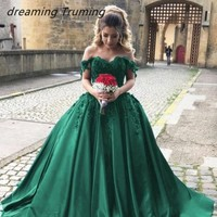 Vestidos De 15 Anos Green Quinceanera Dresses 2019 Stain Off The Shoulder Appliques Masquerade Ball Gown Sweet 16 Dress
