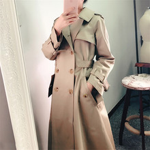 2020 Autumn Women Casual Trench Coat Double Breasted Vintage Elegant Khaki Outwe